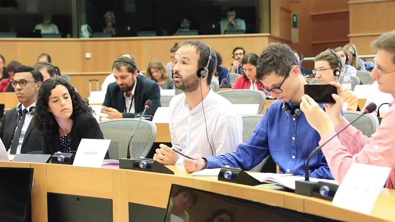 L'eurodéputé Manuel Bompard s'adressant au parlement européen