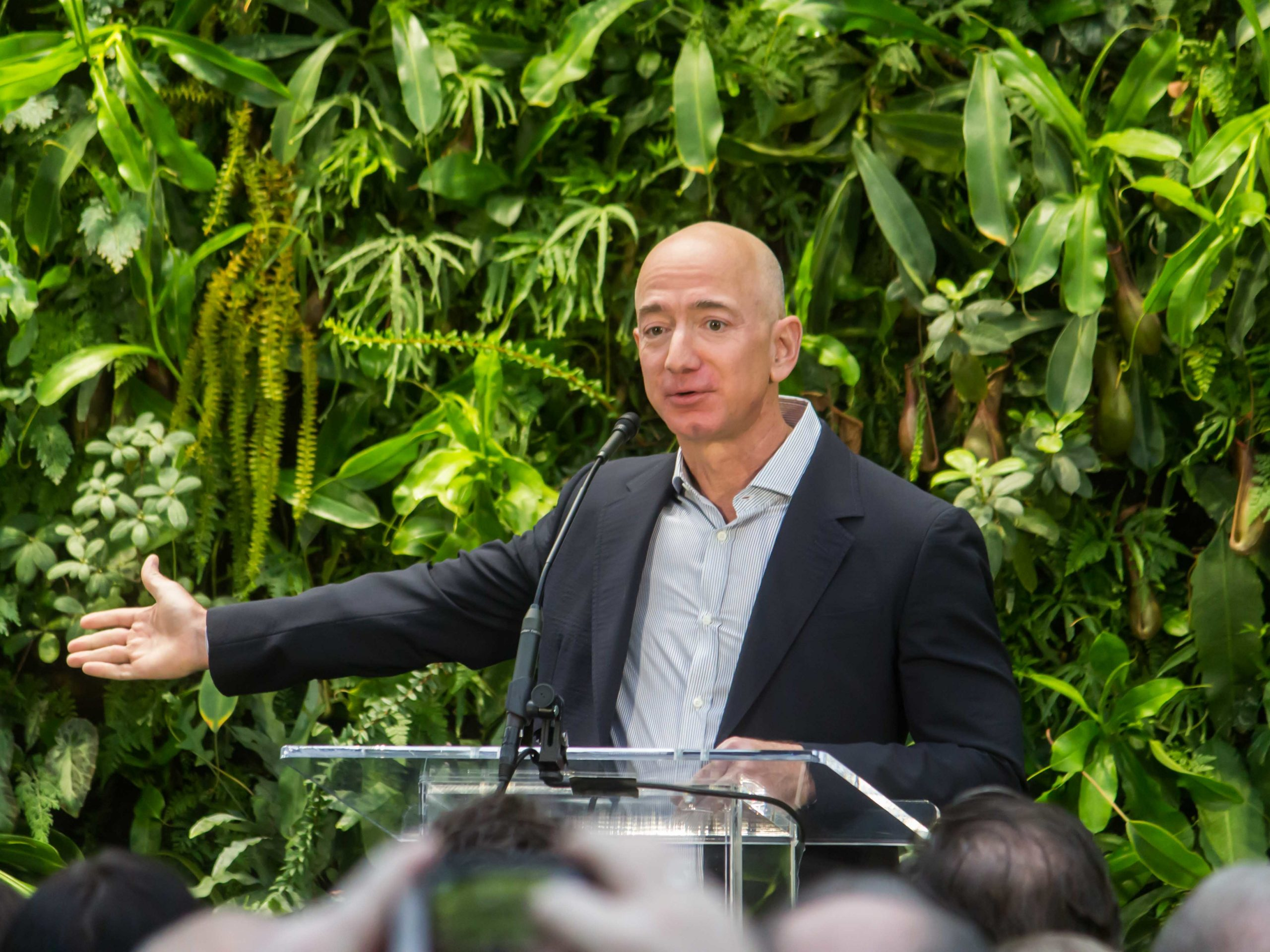 Jeff Bezos at Amazon Spheres Grand Opening in Seattle   2018 39074799225 cropped2 scaled 1
