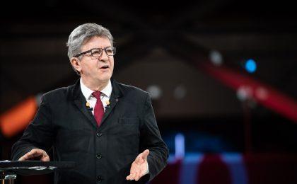 Jean-Luc MELENCHON lors du dernier meeting de la France Insoumise au Grand palais de Lille pour la campagne des elections europeennes de mai 2019 - Lille, 24 mai 2019.